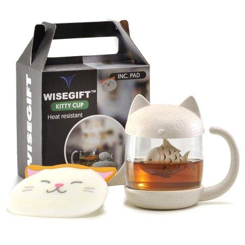 $32+免邮Wisegift 超可爱猫咪茶杯 带滤网茶水分离