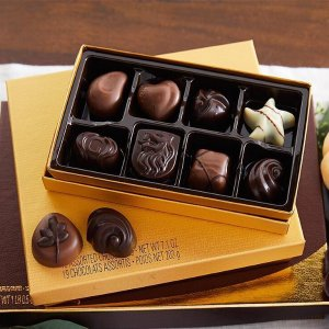 $35.9Assorted Chocolate Gold Gift Box, Gold Ribbon, Set of 3, 8 pc.