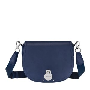 Longchamp体积虽小,但是超能装!深蓝色马鞍包