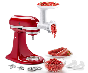 Food Meat Grinder Attachments for KitchenAid Stand Mixers, Durable Meat Grinder, Sausage Stuffer Attachment Compatible with All KitchenAid Stand Mixers, includes 2 Sausage Stuffer Tubes