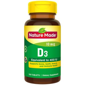 $3.02Nature Made Vitamin D3 400 IU (10 mcg) Tablets, 100 Count
