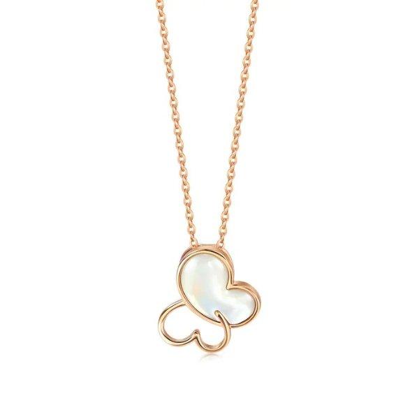 贝母玫瑰金项链