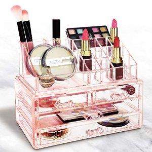 Ikee Design Acrylic Jewelry & Cosmetic/Makeup Storage Display Boxes Set