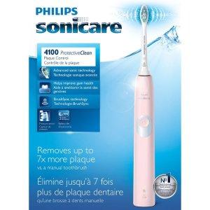 $69.99包邮(原价$89.99) 附送$70大礼包SONICARE ProtectiveClean 4100 电动牙刷 粉色 敏感性牙齿必备