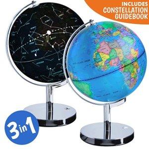$30.76(原价$59.99) 轻松掌握天文地理星座知识USA Toyz 3合1地球仪,带LED夜灯星座仪