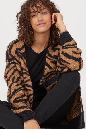 Jacquard-knit Cardigan - Brown/zebra print - Ladies   H&M US