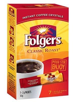 仅$1Folgers 经典烘焙速溶咖啡7袋装 方便好喝又便宜