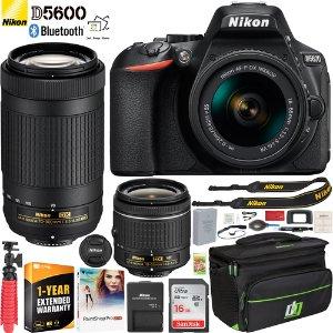 $599 (原价$721.91)Nikon D5600 + 18-55 & 70-300 镜头 + 配件 + 延保