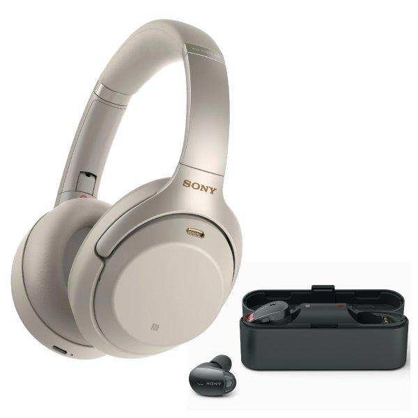 WH-1000XM3 无线降噪耳机 银色+WF-1000X 降噪耳塞 套装