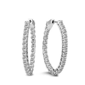 Dealmoon Exclusive: $7982 Carat TW Oval Diamond Hoop Earrings with Push Button Locks in 14K White Gold @ Szul