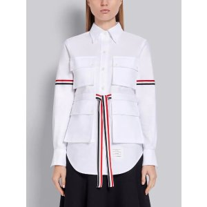 Thom BrowneWhite Cotton Oxford 4-Pocket Adjustable Grosgrain Band Shirt | Thom Browne Official