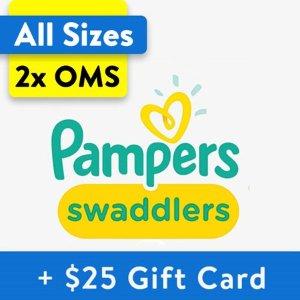 Free $25 Gift CardWalmart Buy 2 Pampers Swaddlers Diapers, OMS Packs
