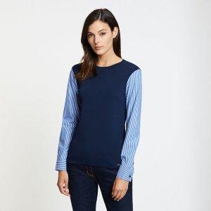 NauticaStriped Sleeve Crewneck Sweater