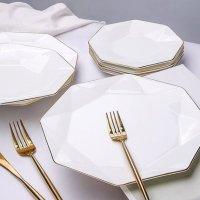 【直营】北欧金边骨瓷盘子菜盘西餐盘子碟子家用陶瓷餐具套装八角