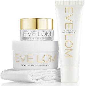 4.5折 仅$58 随时截止,火速囤!逆天价:Eve Lom 卸妆膏4件套 含急救面膜、保湿霜、卸妆巾
