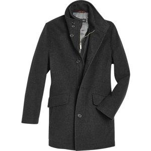 Pronto Uomo Charcoal Classic Fit Car Coat - Men's Outerwear | Men's Wearhouse