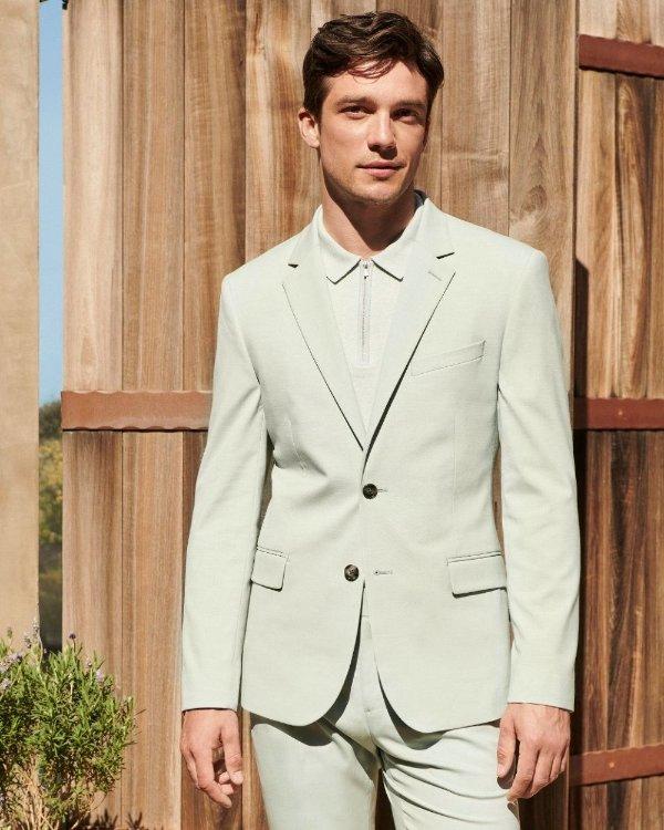 修身薄荷绿西装外套