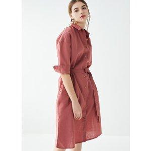 UniqloWOMEN LINEN BLEND 3/4 SLEEVE SHIRT DRESS