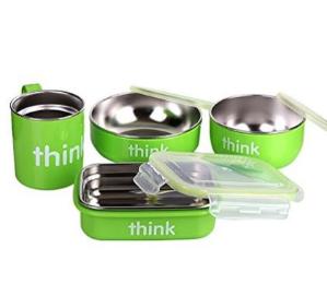 $41.99(原价$51.12)Thinkbaby 双层不锈钢儿童餐具4件套 绿色