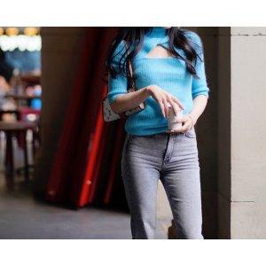 Ganni湖蓝色挖空短袖针织衫