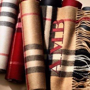 $115起 低至5折巴宝莉围巾、披肩等大促 经典格纹设计