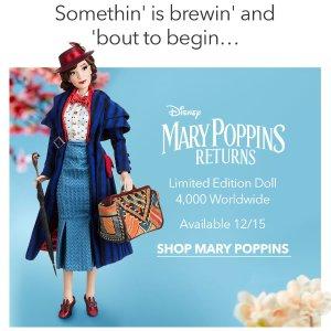 Mary Poppins玩偶全球限量4000个预告:迪士尼官网明日(12月15日)即将开售。曾经是迪士尼奥斯卡提名&获奖最多的影片