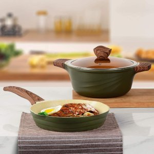 仅€59.99收 高颜值奶绿色ilimiti 24cm不粘煎锅+带盖汤锅套装 适用于所有炉灶类型