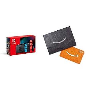$299.99 再送$25 Amazon 礼卡Nintendo Switch 32GB 续航增强版 红蓝/灰 首次降价