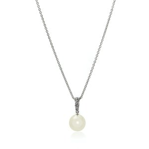 Mikimoto18k White Gold Diamond 0.25ct & White South Sea Pearl Pendant Necklace