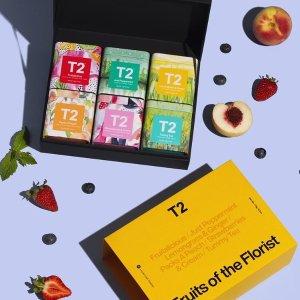新人首次下单享9折 免费注册T2 母亲节限定茶包、茶具上新 封面款水果茶套盒$54