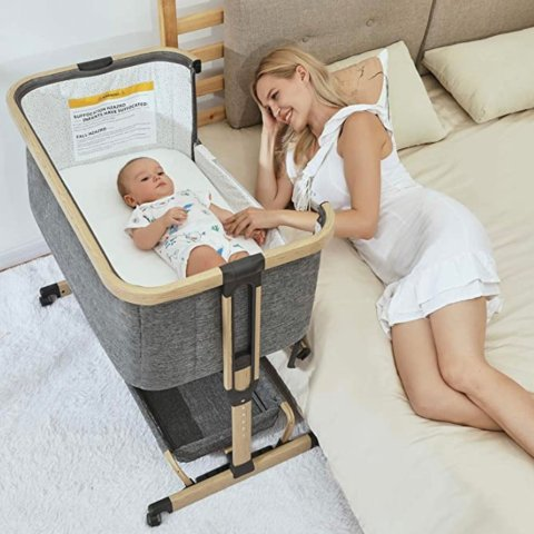 2 in 1 Baby Bassinet, AMKE Bedside Crib with Height Adjustment, Portable Bedside Sleeper