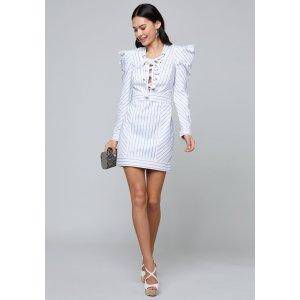 Bebe30% Off $200 Metallic Stripe Laced Dress