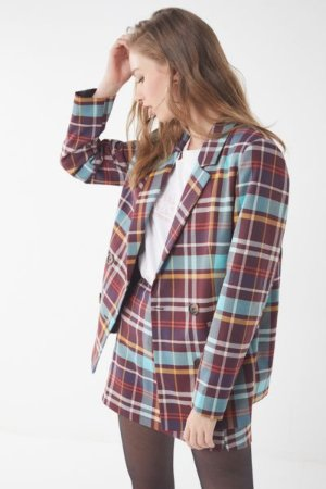 UO Checkered Double-Breasted Blazer | Urban Outfitters