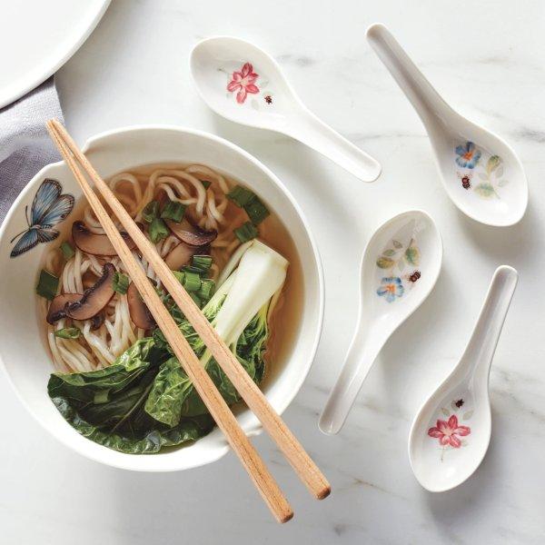 蝶舞花香拉面碗+筷子套装