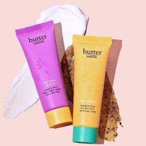 买1送1+送Mini化妆镜Butter London 身体护理热卖 收足部磨砂膏 乳木果护手霜