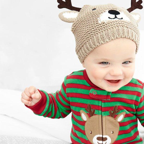 婴儿驯鹿抓绒连体衣