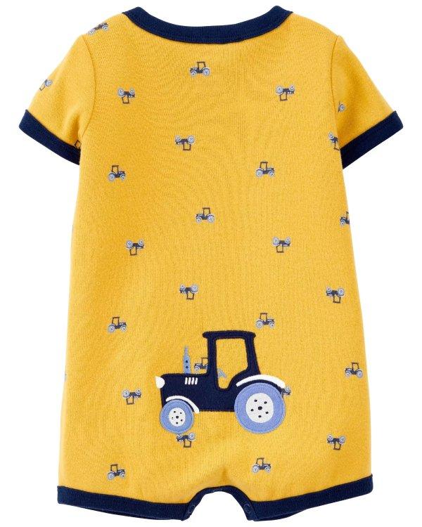 婴儿拖拉机贴布绣爬服