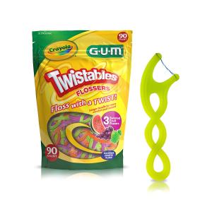 GUM Crayola 综合水果口味牙线棒 90支