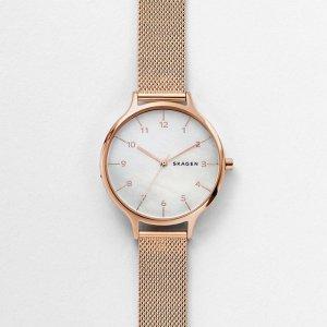 SkagenAnita Mother of Pearl Rose-Tone Steel-Mesh Watch