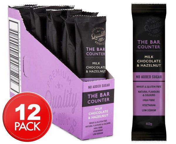 12 x The Bar Counter Milk Chocolate & Hazelnut 40g