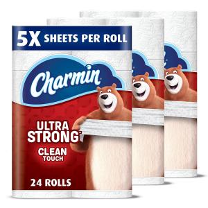 $26.92 相当于普通纸123卷Charmin 5倍超大 强韧双层卫生纸 24大卷