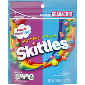 Skittles Wild Berry and Tropical Candy, 9 ounce (8 Bags)
