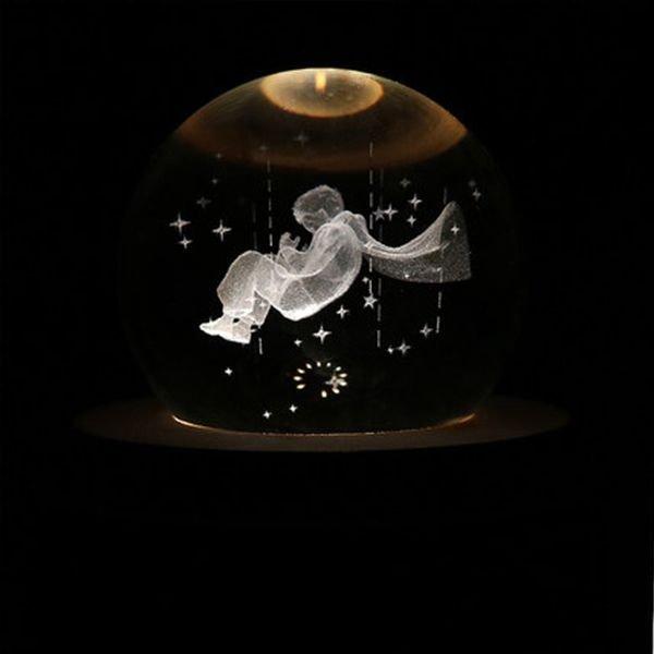 小王子LED水晶球音乐盒