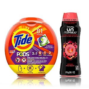 $22.60(原价$32.56)Tide 3合1果冻洗衣球 81颗 + Downy 衣物清香剂 20.1盎司