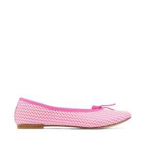 Repetto玫粉色波浪纹平底鞋