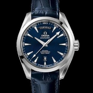 Last Day: $3995OMEGA Aqua Terra Blue Dial Blue Leather Men's Watch 231.13.42.22.03.001