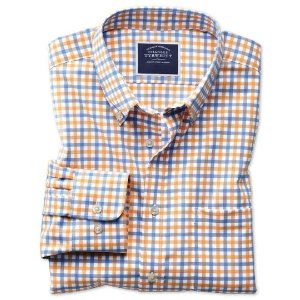 Charles TyrwhittClassic fit button-down non-iron twill yellow and sky blue gingham shirt