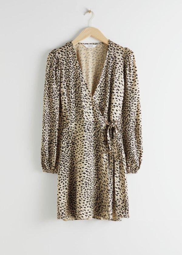 豹纹裹身裙