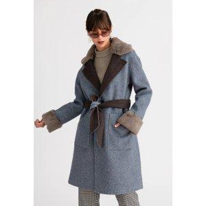 Elsa 澳毛双面尼大衣 灰蓝色