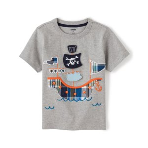 GymboreeBoys Short Sleeve Peek-A-Boo Flap Art Plaid Pirate Ship Patch Top - Whale Hello There